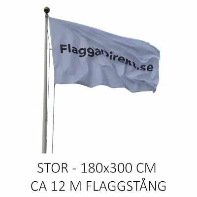 Flagga horisontal med eget tryck stor