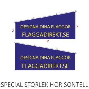 Stor horisontal fasadflagga tillverkad i textil