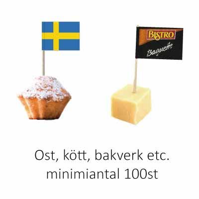 flagga till ost, bakelse, kött mm
